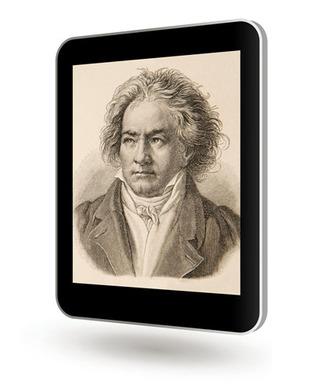 Das Bild zeigt Beethoven, der einen weltberühmten Spruch über Johann Sebastian Bach formulierte auf eine Tablet-PC schräg schwebend