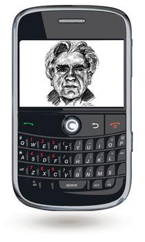 Das Bild zum Zitat zu Bach: Man sieht ein schwarzes Smartphone schwebend mit leichtem Schatten auf weißem Hintergrund: Im Display ein schwarzweißes Bild von Cioran.