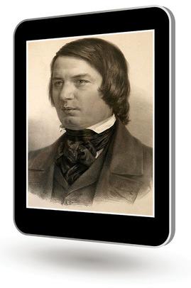 Das Bild zum Zitat zu Bach: ein altes schwarzweißes Foto. Schumann legt den Kopf auf die Faust und sinniert. Dieses Foto ist in ein senkrechtes Tablet montiert, das auf weißem Untergrund schwebt.