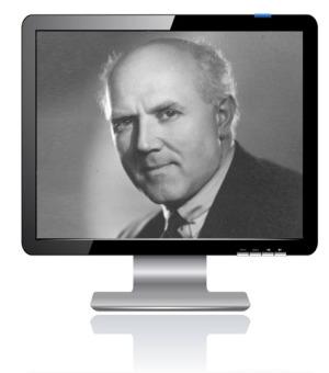 Das Bild zum Zitat zu Bach: Gieseking schaut auf einem schwarzweißen Foto sehr ernst am Betrachter vorbei. Es ist in einen Bildschirm montiert, der sich auf dem weißen Untergrund spiegelt.