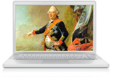 Das Bild zum Zitat zu Bach: der Landgraf in Prunkuniform, blau. Mit Schärpe, er stützt sich auf einen Stock, schaut zum Maler, es ist ein Gemälde. Das ganze dann auf einen weißen Laptop montiert.