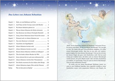 Auf einer Buchinnenseite ist links die Inhaltsangabe, rechts oben ein Aquarell von 2 Engelchen und darunter auf einer Halbseite Text und Überschrift.