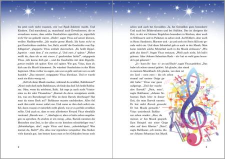 Auf einer Buch-Doppelseite ist oben Sternenhimmel , rechts ein gewaltig großer Notenschlüssel und bunte Noten, sonst ist es eine Text-Doppelseite.