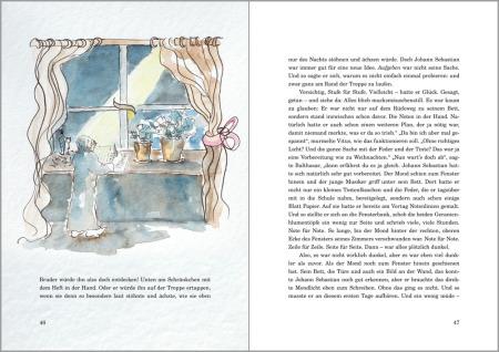 Auf zwei Buch-Innenseiten ist rechts der Text und links ein großes Bild und drei Textzeilen. Das Bild stellt Johann Sebastian Bach beim Schreiben am Fenster, nachts, dar. Der Mond scheint ins Zimmer..