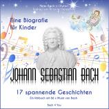 """Eine quadratische CD-Hülle der Bach-Biografie für Kids. Unten der Titel: Johann Sebastian Bach für Kinder - 17 spannende Geschichten, darüber die Bach-Büste, oben Himmel, Sterne, Engel und der Text """"Eine Biografie für Kinder""""."""