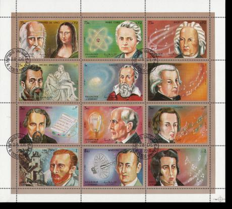 Ein Musiker-Briefmarken-Block ist ein ideales Musikergeschenk. Auf einem Block mit weißem Rand sind 9 Persönlichkeiten abgebildet, darunter oben rechts auch der Komponist aus Eisenach.