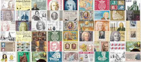 Man sieht eine gewaltige Collage von Bach-Briefmarken. Es sind etwa 30 unterschiedliche zu sehen und alle sind zum Thema des Thomaskantors.