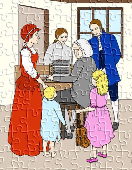 Auf einem Gesamtpuzzlebild ist die Familie des Thomaskantors zu sehen: der Thomaskantor am Klavier, die Familie rund herum.