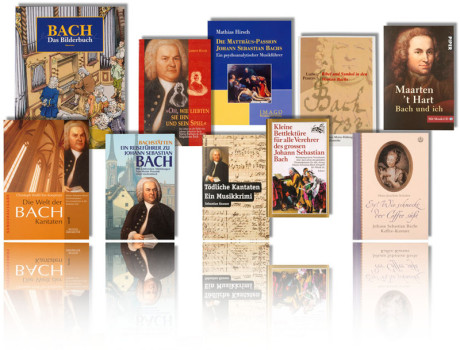 Im Bild: eine Collage Bücher zu Bach. 10 Bach Bücher stehen auf weißen Untergrund: eines der Bücher ist ein Buch für Kinder, ein Buch ist eine Biographie, Bach Buch Esoterik, ein Buch für Bach Fans.