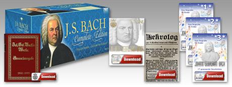 """Eine Collage auf weißem Grund schwebend besteht aus 3 Anteilen: Einer CD-Box in blau mit dem Titel """"J.S. Bach Complete Edition"""", einem Download-Button in rot/weiß und einem historischen Buch in rot und gold: Bach-Gesamtausgabe."""