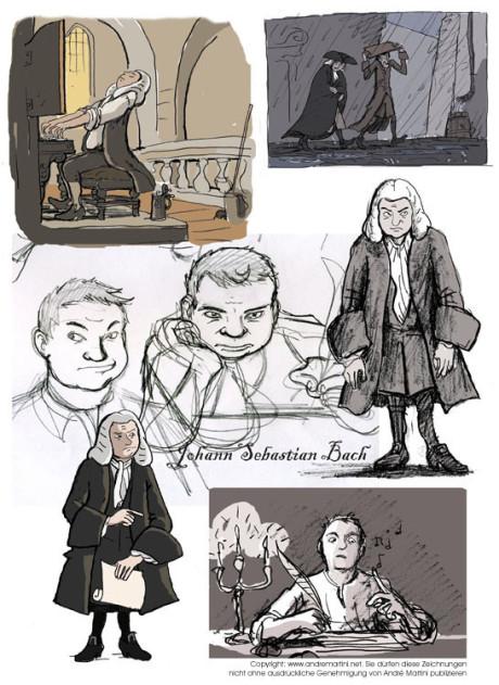 Zeichentrick rund um Johann Sebastian Bach: Bach als Comic Figur und als Zeichentrickfilm