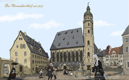 Thomaskirchhof, Thomaskirche und Johann Sebastian Bach, ein Bild aus dem Zeichentrickfilm rund um Johann Sebastian Bach. Der Künstler: André Martini, Leipzig