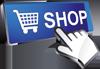Eine weiß-graue grafische Hand zeigt auf einen blauen Shop-Button mit einem stilisierten Einkaufswagen und dem Wort SHOP.