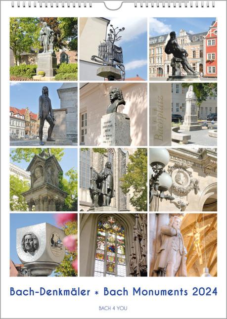 12 Bach-Denkmale sind auf einem Bach-Kalender abgebildet. Unten ist der Kalender-Titel.