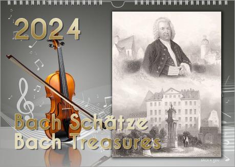 Man sieht auf einem extremen Querformat vier Kalender. Sie sind Teil einer Anzeige auf dem Steckbrief zu Johann Sebastian Bach. Alle Kalender sind im Querformat und alle Motive sind extrem bunt. Die Motive: Ein Hundchen spielt am Schlagzeug, man sieht von