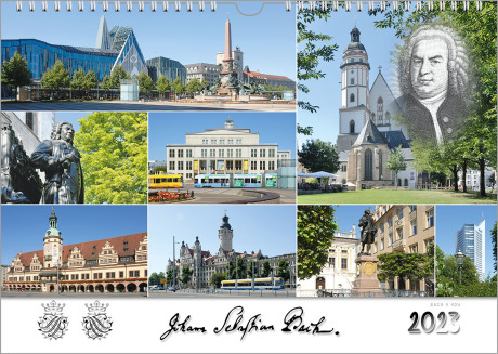 Ein Bach-Kalender präsenierte in 8 Bildern Motive aus Bachstädten. Unten ist die Unterschrift Bachs, sein Wappen und die Jahreszahl.