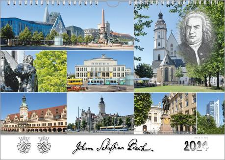 Ein Bach-Kalender präsentiert in 8 Bildern Motive aus Bachstädten. Unten ist die Unterschrift Bachs, sein Wappen und die Jahreszahl in einem weißen Feld.