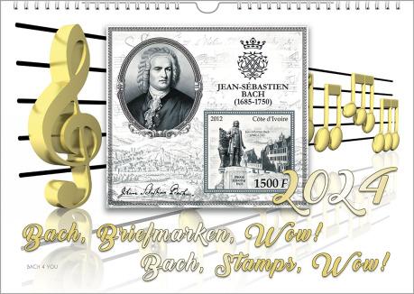 Man sieht einen Bach-Kalender in weiß und grau und gold: In der Mitte ist eine graue Bach-Briefmarke, links ein auffälliger Notenschlüssel, unten der Kalender-Titel, rechts die Jahreszahl.