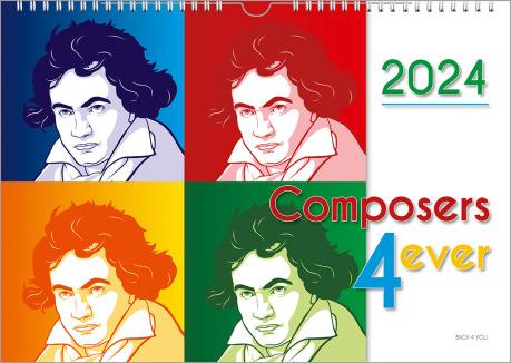 """Der Komponisten-Kalender mit dem Titel """"Composers 4 ever"""" zeigt links 4 gleiche Cartoons von Beethoven als Quadrat angeordnet. Rechts oben ist die Jahreszahl, darunter im weißen rechten senkrechten Rand der erwähnte Titel."""