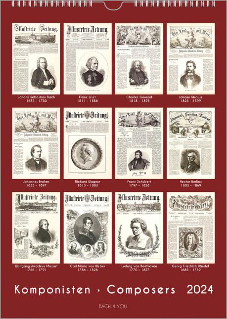 Ein roter Untergrund ergibt mit 12 Repros von schwarz-weißen historischen Zeitungstiteln einen Komponisten-Kalender: unten stehen auch der Titel und die Jahreszahl in großer Schrift.