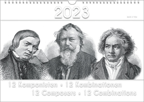 """Auf der Seite für Peter Bach sieht man ein schwarzweißes Kalender-Titelblatt. Oben ist die Jahreszahl, in der Mitte sind alte Stiche von Schubert, Brahms und Beethoven, unten ist der Titel: """"12 Composers - 12 Combinations""""."""