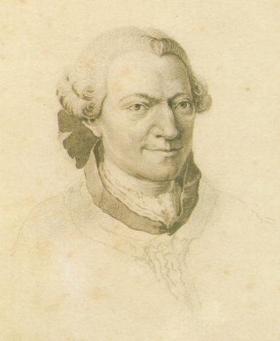 Wilhelm Friedemann Bach als Bleistiftzeichnung. Abgebildet ist nur der Kopf bis zum Kragen, eine Jacke ist angedeutet. Wilhelm Friedemann Bach trägt eine weiße Perücke, die mit einer dunklen Schleife hinten zusammengehalten wird.