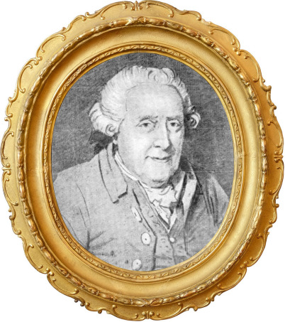 Wilhelm Friedemann Bach in fortgeschrittenem Alter: Es ist ein schwarzweißes historisches Bild in einem barocken Goldrahmen. Wilhelm Friedemann Bach schaut zum Betrachter.