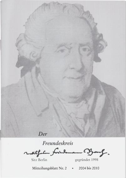 """Wilhelm Friedemann Bach ist der """"Freundeskreis"""" gewidmet, der die abgebildete schwarzweiße Broschüre in Grautönen abbildet. Es ist ein Bild von WFB in fortgeschrittenem Alter, man erfährt Gründungsjahr, den Sitz des Kreises und die Nummer der Ausgabe auf"""
