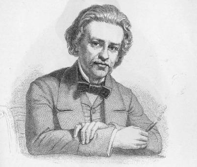 Wilhelm Friedemann Bach hat A.E. Brachvogel, den man im Bild als schwarzweiße Bleistiftzeichnung sieht, vollkommen falsch dargestellt. Er schaut zum Betarchter, lehnt die Arme auf dem Tisch auf und hält in der rechten Hand eine Zigarre. Er trägt Jacket un