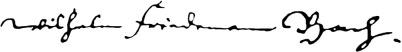Wilhelm Friedemann Bachs Unterschrift in schwarz auf weißem Grund.