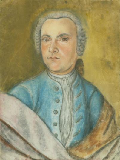 Wilhelm Friedemann Bach als Jugendlicher: Man sieht ein Ölportait, Hochformat, WFB schaut zum Betrachter. Er hat eine blaue Weste über einem weißen Hemd, der Hintergrund ist hellgrün.