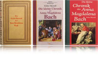 """3 Bücher mit dem selben Inhalt, jedoch mit 3 unterschiedlichen Covers: es ist das Buch """"Die kleine Chronik der Anna Magdalena Bach"""". Auf den rechten beiden ist ein Bild, auf dem linken keines."""
