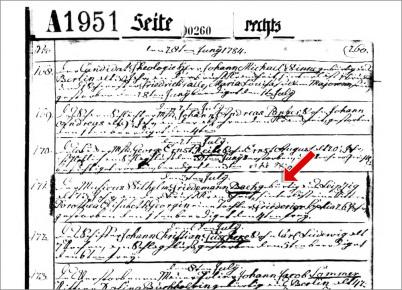 Der Sterbeeintrag von Wilherlm Friedemann mit einem Eintrag-Fehler. Es ist ein historisches Blatt mit alter Handschrift.