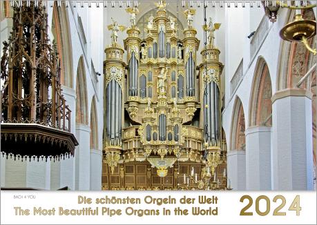 Orgelkalender-Titel und Orgelkalender Monat Juli. Unten 10 % und rechts 10 % Fläche sind weiß0, rechts ist das Kalendarium senkrecht. Unten steht der Name der Kirche und die passende Stadt. In der Mitte des Motivs sieht man eine barocke Orgel in gleißende