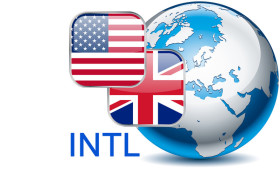 Flaggen, eine blau graue Erdkugel und die Buchstaben INTL führen als kleines Symbol zu den internationalen Seiten