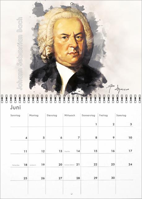 Kein Orgelkalender, sondern ein Komponisten-Kalender ist abgebildet. Es ist ein Kalender im US-Stil, also oben 50 % das schöne Bildmotiv, unten ein Gitter, in der Mitte eine Spirale. Es ist ein Wandkalender. Oben sieht man Bach.