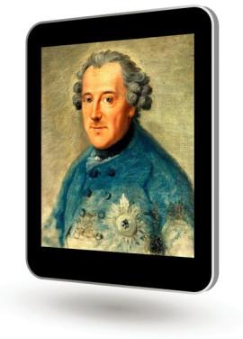 Das Bild zum Zitat zu Bach: Im senkrechten, schwebenden Tablet ist ein Ölgemälde vom König zu sehen. Ein ungewohntes Jugendbild. Mit blauem Jackett. Ein großer silberner Orden auf der Brust.