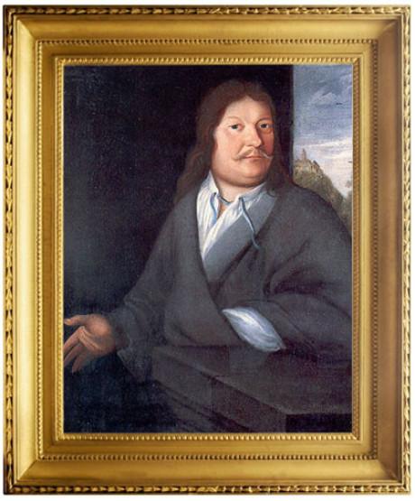 Ambrosius Bach, der Vater von Johann Sebastian sitzt vor einer dunklen Wand, hat den linken Arm auf einem dunklen Tisch. Das Bild ist ein buntes Gemälde und düster. Im Hintergrund: die Wartburg.