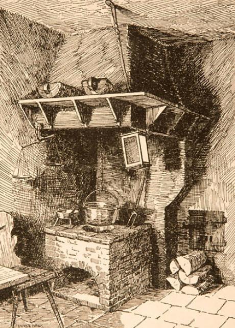 Sehr, sehr rustikal ging es in den Küchen vor 330 Jahren her. Wo die acht Bach-Kinder, Vater und Mutter wohnten, kochten, schliefen und lebten. Das Bild zeigt eine schwarz-weiße Bleistift-Zeichnung.