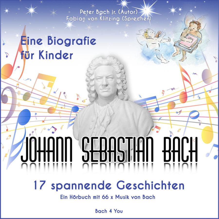 Eine quadratische CD-Hülle der Bach-Biografie für Kids. Unten der Titel: