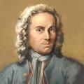 Johann Sebastian Bach in Ölfarben.