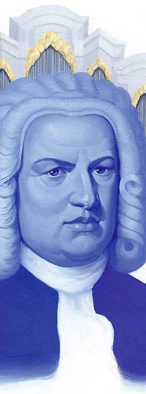 Man sieht in einer Variation aus Blautönen das Portait von Johann Sebastian Bach. Es sind also keine realistischen Farben. Im Hintergrund ist in den Farbtönen Gold, Grau und Weiß eine Orgel schwach angedeutet. Unten ist der Hinweis zum Künstler: Artwork by Briana Bach-Hertzog. Oben liest man in großer Schrift Bach über Bach.